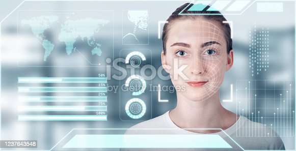 1021681352 istock photo Futuristic Artificial Intelligence Biometric Facial Recognition, Personal AI Identify Face Scan With Smart Virtual Interface Database Technology. Future Identification Facial Access Security Scanning 1237643548