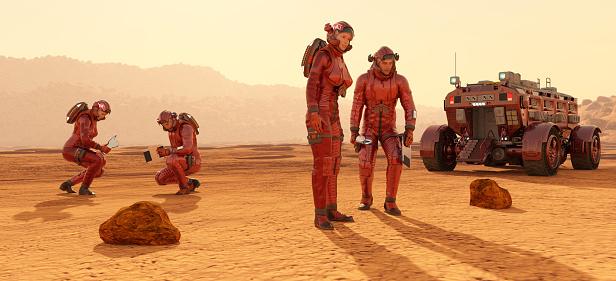 Futuristic Astronauts - Fotografie stock e altre immagini di Affari