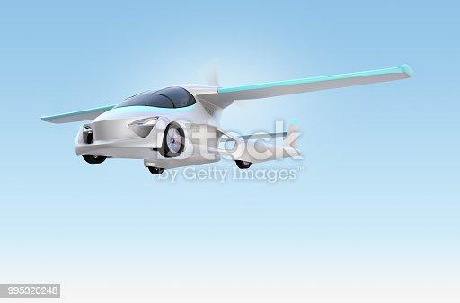 istock Futuristic autonomous car flying in the sky 995320248