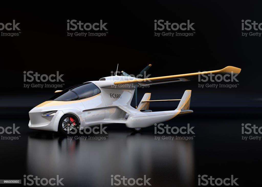 Futuristic autonomous car on black background stock photo