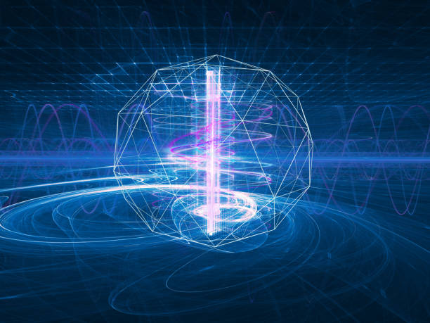 futuristic background on a theme of science, technology and communications - elementary particle stock photos and pictures