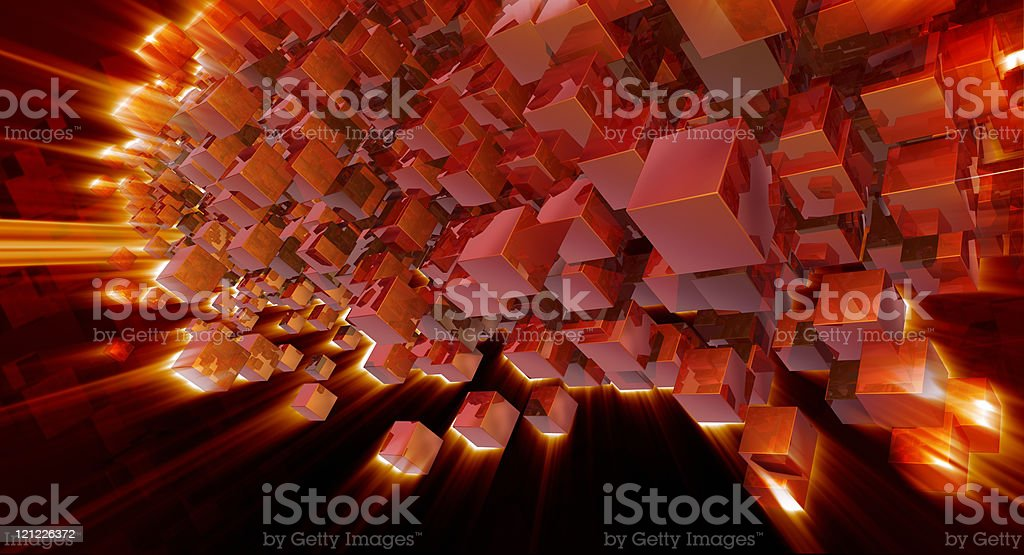 Futuristic background. Red blocks royalty-free stock photo