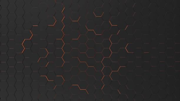 具有六角形和橙色光的未來背景 - 蜂巢式樣 個照片及圖片檔