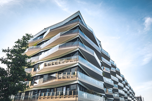 futuristic balconies of new residential architecture in berlin