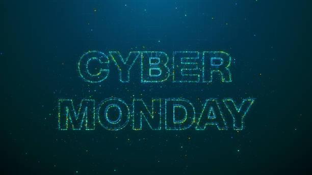 futuristic banner for cyber monday event - cyber monday стоковые фото и изображения