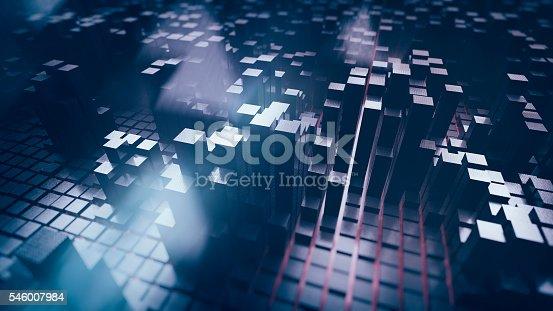 istock Futuristic block shaped cityscape 546007984