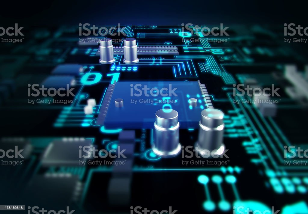 futuristic blue circuit board background illustration stock photo