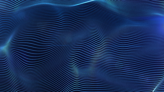 istock Futuristic blue glowing lines particles wave abstract background 886550470