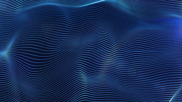 Futuristic blue glowing lines particles wave abstract background stock photo