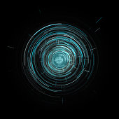 Futuristic Blue Virtual Graphic Touch User Interface HUD Over Black Background
