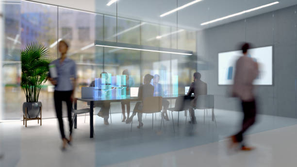 Futuristic board room Group of people working in a modern board room with augmented reality interface, all objects in the scene are 3D technology stock pictures, royalty-free photos & images
