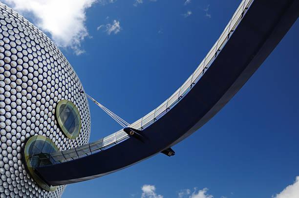 Futuristic Bridge to Modern Building stock photo