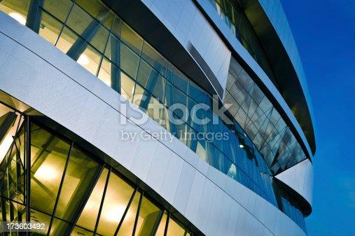 istock Futuristic Building at Night 173603492