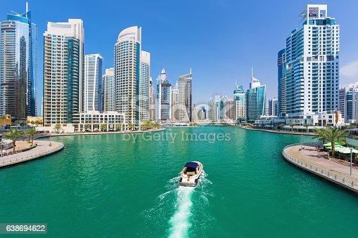 istock Futuristic buildings in luxury Dubai Marina,United Arab Emirates 638694622