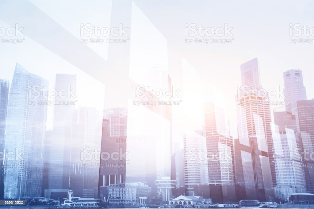 futuristic business background, office window stock photo