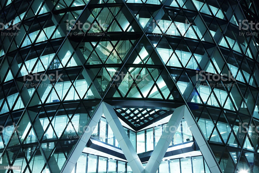 Futuristic Business Building at Night royalty-free stock photo