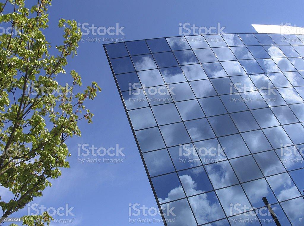 Futuristic business building at springtime #3 royalty-free stock photo