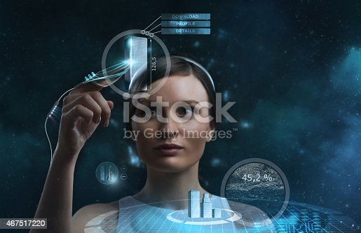 istock Futuristic businesswoman working with a transparent screen 467517220