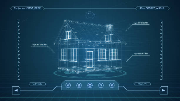 futuristic cad software interface stock photo