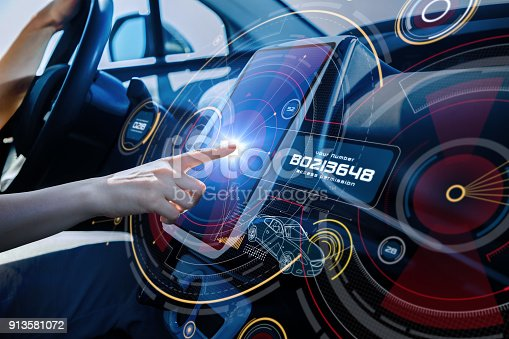istock Futuristic car cockpit and touch screen. Autonomous car. Driverless vehicle. HUD(Head up display). GUI(Graphical User Interface). IoT(Internet of Things). 913581072