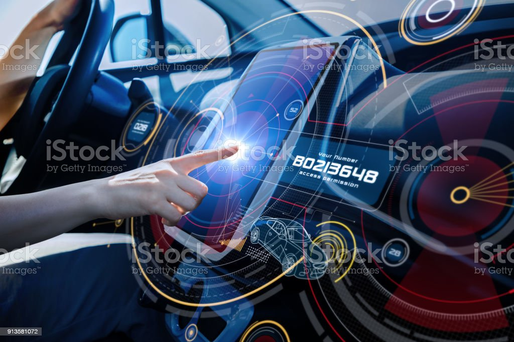 Futuristic car cockpit and touch screen. Autonomous car. Driverless vehicle. HUD(Head up display). GUI(Graphical User Interface). IoT(Internet of Things). - foto stock