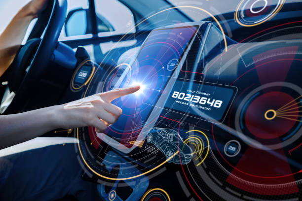 Futuristic car cockpit and touch screen. Autonomous car. Driverless vehicle. HUD(Head up display). GUI(Graphical User Interface). IoT(Internet of Things). stock photo