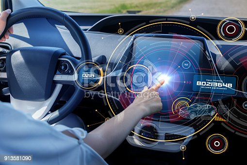 istock Futuristic car cockpit and touch screen. Autonomous car. Driverless vehicle. HUD(Head up display). GUI(Graphical User Interface). IoT(Internet of Things). 913581090