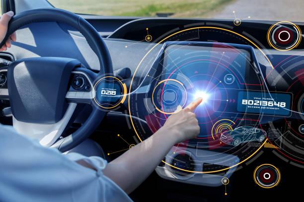 Futuristisk bil cockpit och touch skärm. Autonoma bil. Förarlösa fordon. HUD (Head up display). GUI (grafiskt användargränssnitt). IoT (Sakernas Internet). bildbanksfoto