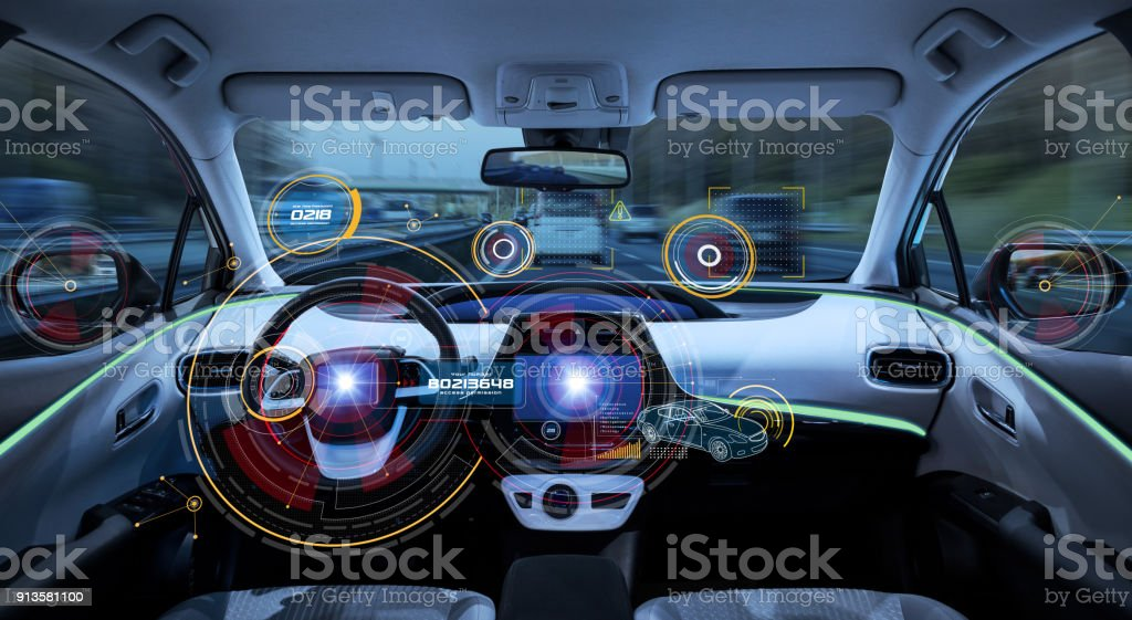 Futuristic car cockpit. Autonomous car. Driverless vehicle. HUD(Head up display). GUI(Graphical User Interface). IoT(Internet of Things). - foto stock