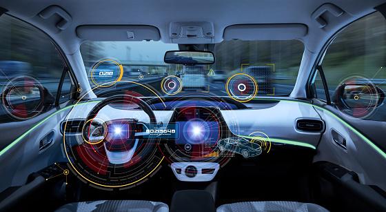 Futuristic Car Cockpit Autonomous Car Driverless Vehicle Hud Stock Photo - Download Image Now