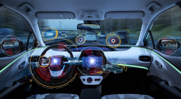 Futuristic car cockpit. Autonomous car. Driverless vehicle. HUD(Head up display). GUI(Graphical User Interface). IoT(Internet of Things). stock photo