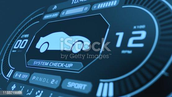 close up view of a futuristic car dashboard (3d render)