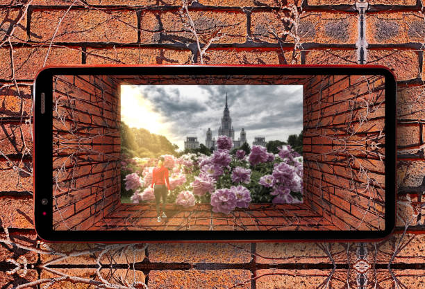 futuristic cell phone view of old tunnel with brick wall, dry ivy and red sporty girl entering botanic garden of famous russian university under dramatic sky with pink peony flowers - ivy corporate building imagens e fotografias de stock