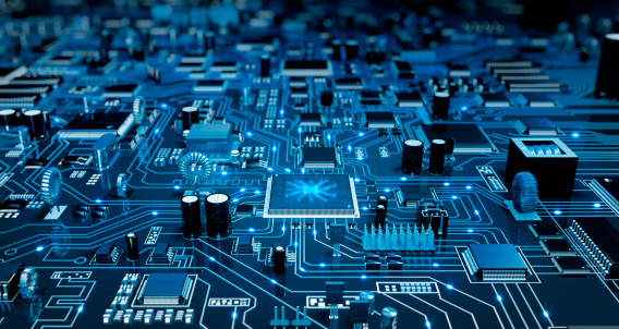 High angle view of a futuristic circuit board. Created exclusively for iStockphoto.