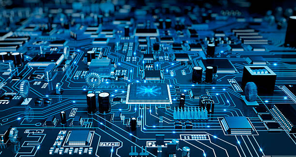 futuristic circuit board blue with electrons stock photo