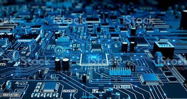 Futuristische Schaltkreis Blau Mit Elecrons Stockfoto und mehr Bilder von Schaltkreis