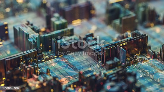 Futuristic circuit board like city at night.