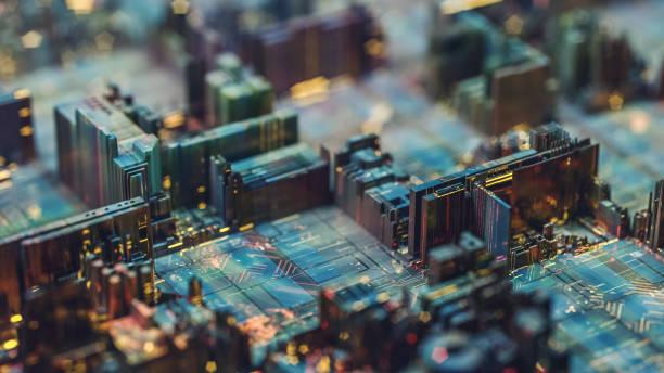 futuristic circuit board like city at night - scheda a circuito foto e immagini stock