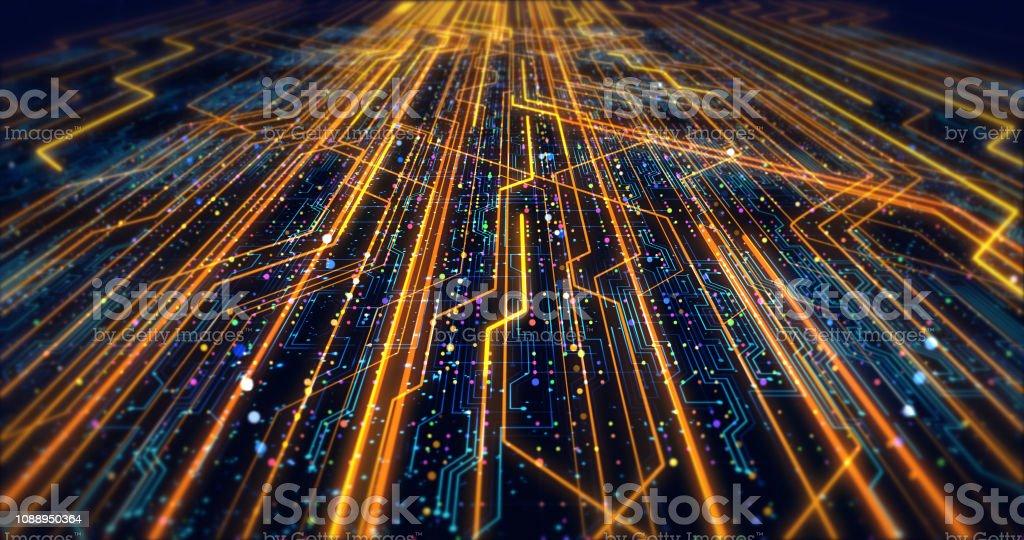 Futuristic Circuit Board Render With Bokeh Effects - Zbiór zdjęć royalty-free (Abstrakcja)