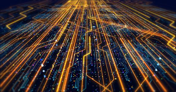 Futuristic Circuit Board Render With Bokeh Effects - zdjęcia stockowe i więcej obrazów Abstrakcja