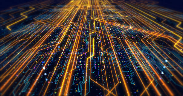 futuristic circuit board render with bokeh effects - futuristic technology imagens e fotografias de stock