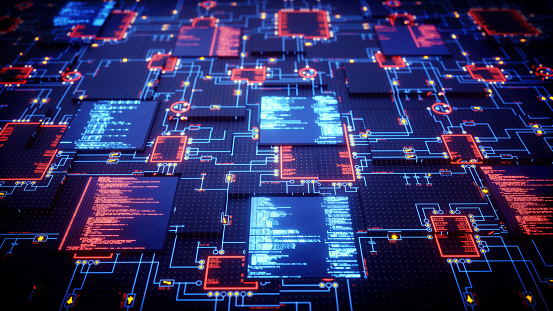 A futuristic design of an integrated circuit with displays showing source code. The image represents an abstract design in the domain of computing, security, engineering, electronics or similar advanced technology. This image is a made up 3D concept render.