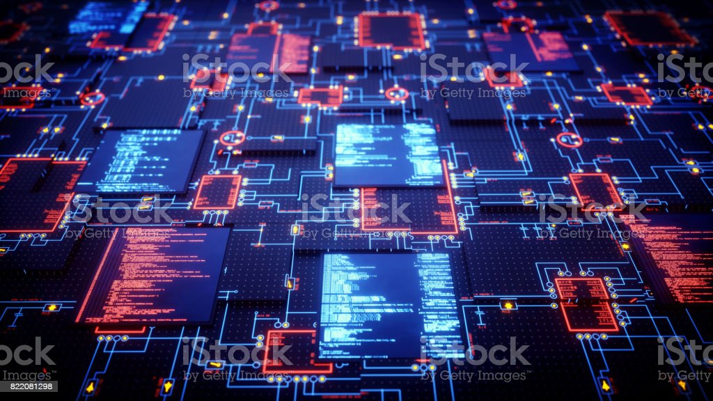 Futuristic Circuitry Close Up stock photo