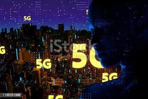 691790416istockphoto Futuristic City 5G electromagnetic signals 1135251366