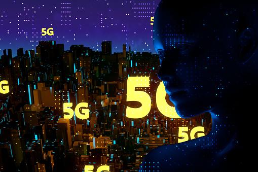 872670560 istock photo Futuristic City 5G electromagnetic signals 1135251366