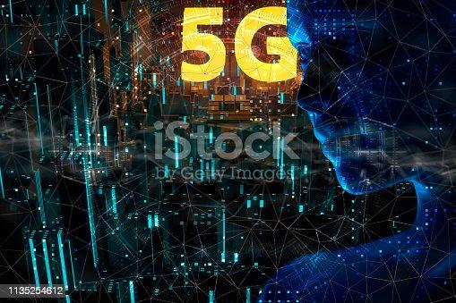 691790416istockphoto Futuristic City 5G electromagnetic signals 1135254612