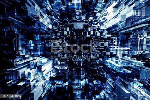 istock Futuristic city abstract 1071612526