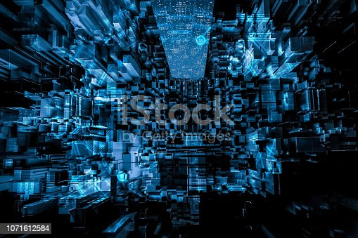 istock Futuristic city abstract 1071612584
