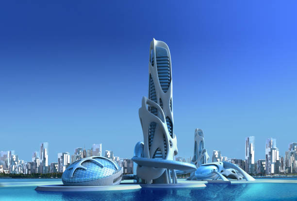 サイエンス フィクションとファンタジーのイラストの未来都市建築 - 未来都市 ストックフォトと画像