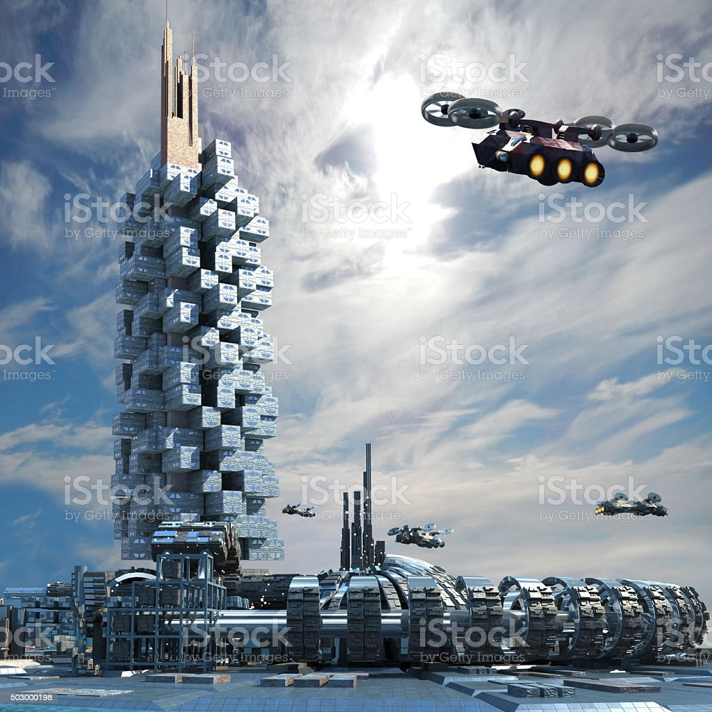 Futuristic city architecture stock photo